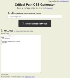 Critical Path CSS Generator スクリーンショット