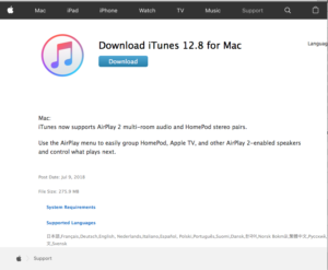 iTunes download page