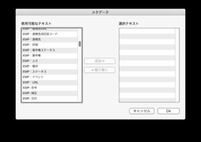 GraphicConverter 設定-タブに表示選択