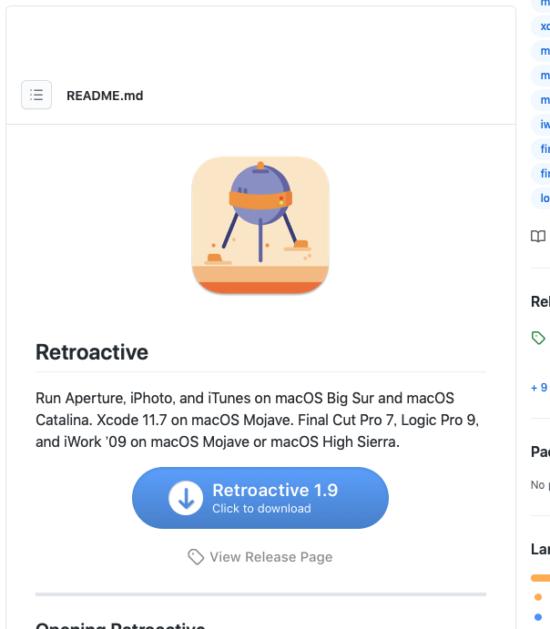 github Retroactive page