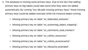 警告「The database is missing somu primary keys.」